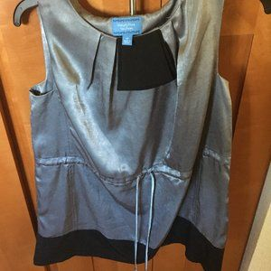 Vera Wang Satin Silk Silver Black Dress or Blouse